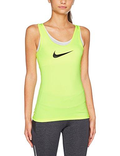 Nike W NK Tank Vcty BL Camiseta sin Manga, Mujer, Amarillo Florescente Voltio/Blanco, M