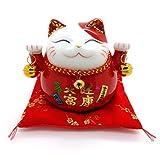 Bimbomshop Winkekatze Glückkatze Maneki Neko Spardose mit Glocken - Winkekatze aus Porzellan in Rot 11 cm