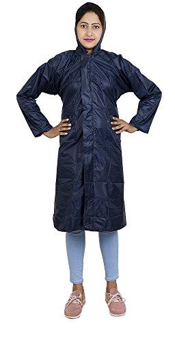 Zacharias Women's Polyester Long Rain Coat (Navy Blue,Free Size)
