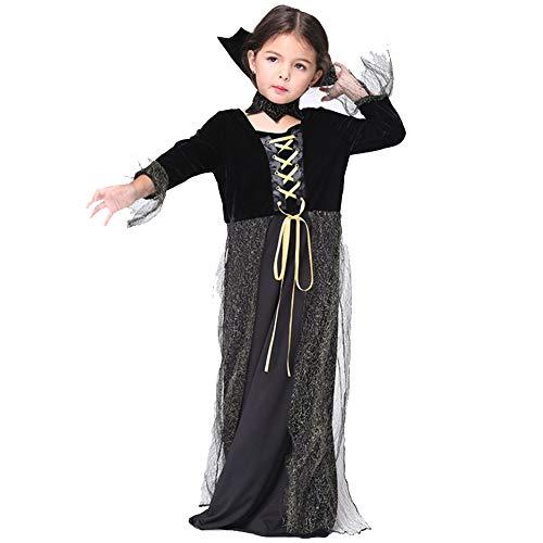 Zombie Niedliche Kostüm - XDXDO Halloween Kinderkleidung Performance Kostüme Performance Kindertanz Schwarz Lange Cosplay Kostüme Zombie Countrygirl Kostüm,XL(125cm~135cm