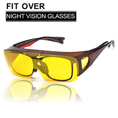 SIPHEW Nachtsichtbrille Autofahren für Brillenträger, Gelbe Linse Anti-Glanz Fahren Brillen, Kontrast-Brille Nachtfahrbrille Polarisierte