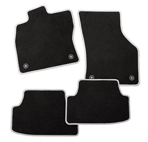Preisvergleich Produktbild Racer Passform Auto Fußmatte aus Velours mit silber-grauer Hochglanzkettelung und Mattenhaltern für New Mini, Cooper (R50/R53), Baujahr 09/2003-10/2006
