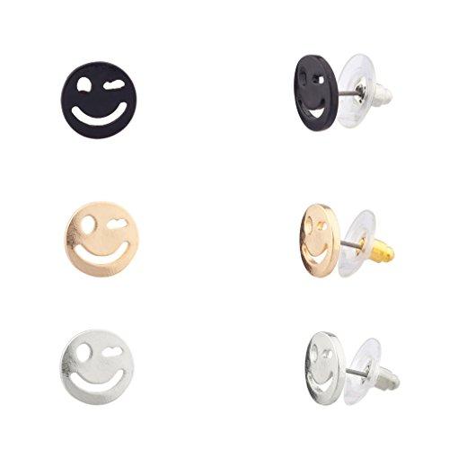 Lux accessori Emoji Wink Happy Smile Face-Maglietta da bambini & di orecchini