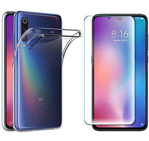 AOBOK [2 Stück, Hülle für Xiaomi Mi 9 SE, Panzerglas für Xiaomi Mi 9 SE, Transparent Weiche Silikon [ Ultradünnen ] Flexibel Bumper Handyhülle TPU Kratzfest Handy Schutzhülle