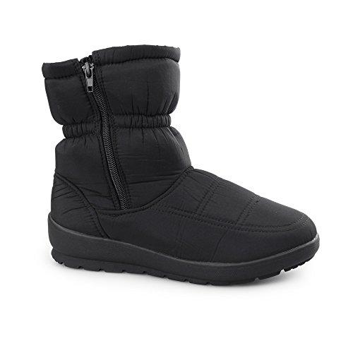 Dr Keller BELEUCHTUNG Damen Warm Gefüttert Winter Schnee Knöchelhohe Stiefel Schwarz Schwarz
