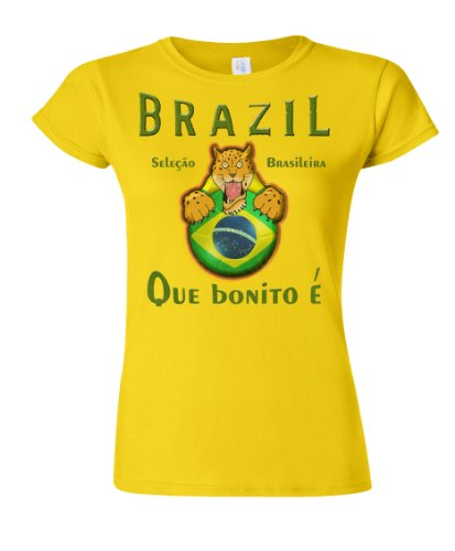 Brazil Football Mascot Ladies Camiseta Para Mujer World Cup T-Shirt