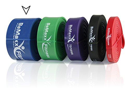 BeMaxx Fitness - Bande élastique pour les tractions avec guide d'entraînement (en anglais) - bande de traction Pull Up - LA bande de résistance pour faire du powerlifting/du fitness/de la musculation/du CrossFit/des étirements/du yoga - bleu