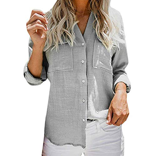 Keephen Frauen Shirt - Elegant Solid Color Casual Bluse Manschettenknopf Fashion Button V-Neck Tunika T-Shirt - Manschettenknöpfe-button-shirt