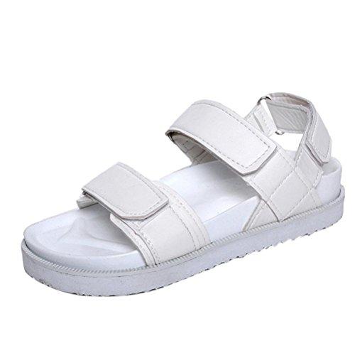 Flache Klett Sandalen Damen, DoraMe Frauen 2018 Sommer Gladiator Bequemen Pantoletten Mode Lässig Gelegenheiten Schuhe Gummiband PU Slipper (EU:37/CN:38, Weiß) (Schwarzer Riemchen Leder-look)