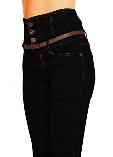 Damen Jeans Hose Skinny Corsage High Waist Röhrenjeans inkl. Gürtel (434), Grösse:36 Schwarz, Farbe:Schwarz -