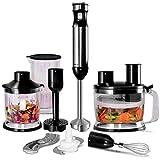 COSTWAY Set di Frullatore a Mano, Frullatore ad Immersione Professionale da Cucina in Acciaio Inox a Velocità Variabile 1000W (Nero)
