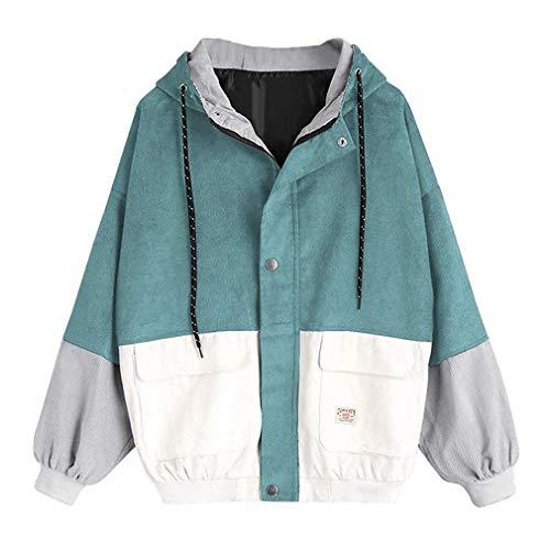 Frauen Langarm-Sweatshirt Cord Patchwork Übergroße Jacke Mantel Zip Sweatshirt Tops Hellblau 2XL Cord-zip-jacke