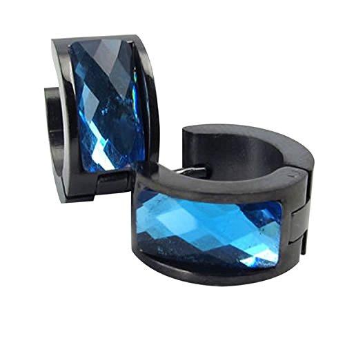 Pendientes de acero inoxidable - SODIAL(R) pendientes de joyeria de hombres, pendientes de aro de acero inoxidable, de color azul y negro