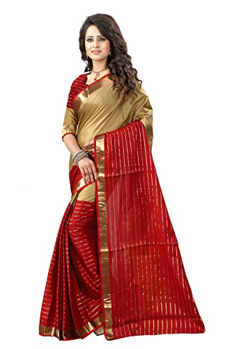 Shree Sanskruti Women's Poly Cotton Saree With Blouse Piece (Dj Chikku Marooon_Maroon...