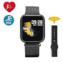 RanGuo Smart Watch per uomini donne e bambini, Schermo a sfioramento completo, Bluetooth intelligente Braccialetto Fitness per Android e iOS, supporta promemoria di chiamata e messaggi (Nero)