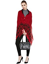 Cayman Red & Black Patterned Reversible Wollen Poncho Sweater