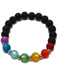 Chakra Armband - Lavastein schwarz mit bunten Polarisperlen, Perlen 8 mm