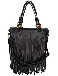Ladies Womens LYDC BLACK TASSLE BAG FRINGE MESSENGER SATCHEL CROSSBODY  HANDBAG 57db0a78ca