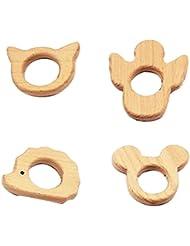 Holz Bei/ßring 4er Pack Baby Bei/ßring Zahnen Spielzeug Holz Greifring f/ür Babys S/äuglinge und Kleinkinder