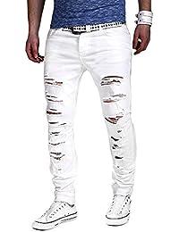 Dihope Homme Pantalon Serré Denim Trou Biker Déchiré Trou Jeans Skinny  Cargo Straight Slim pour Printemps aaf206325dbc