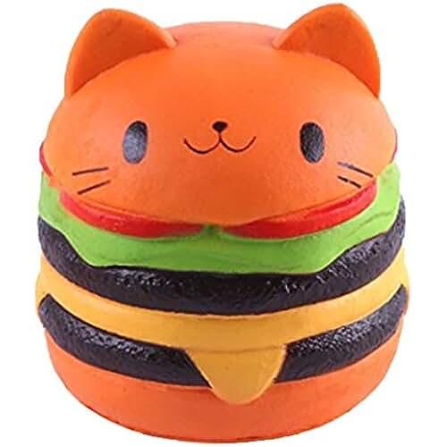 juguetes kawaii Kfnire Jumbo gato hamburguesas blando mano almohada alivio de estrés juguete