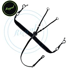 Royal Elastic Breast Plate with Girth Strap./ Vegetable Tanned Leather./ Stainless Steel Buckles./ Black Elastic with Grey & Maroon Lines.