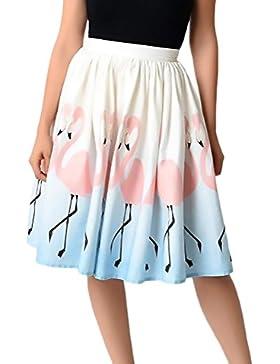Mieuid Faldas Mujer Elegante Verano Moda Impresión Floral Encima Rodilla Woman Línea A Falda Anchas Casual