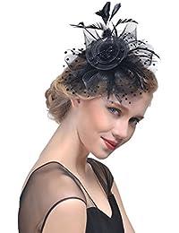 ZYCC Pince à Cheveux Plume Fleur Bowknot Mesh Dot Voile Chapeau Fascinator Mariage Fête Cocktail