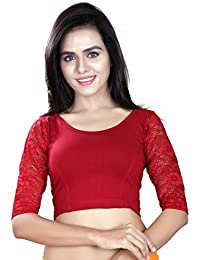 Fressia Fabrics Cotton Saree Blouse(Maroon plain-107 code_Maroon_Free Size)