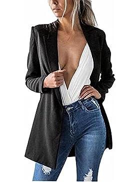 Minetom Mujer Otoño Casual Elegante Slim Fit Chaqueta Blazer Fiesta Chaqueta Manga Larga OL Abrigo Cardigans Coat...