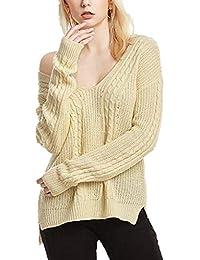 Sweater Femme Manches Longues V Cou Épaules Nues Tricoter Pulli Printemps  Fashion Automne Elégante Bouffant breal b4c6846cdb1c