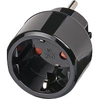 Brennenstuhl Reisestecker Adapter, Steckdosenadapter Reise (Für: USA Steckdose und Euro Stecker) Farbe: schwarz
