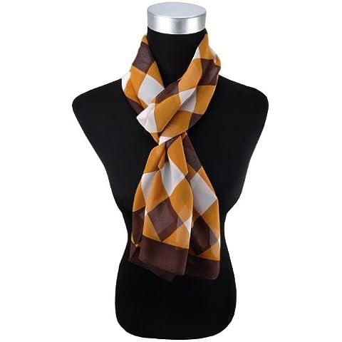 Mujer Gasa bufanda pañuelo marrón ocre Blanco Cuadrícula, talla 160cm x 50cm–Paño