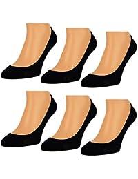6 oder 12 Paar Damen Füßlinge Ballerina Socken Footies Baumwolle Schwarz Weiß Beige - 15500
