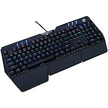 aitalk Gaming Mecánica Teclado 104teclas sin conflictos, Azul Botón Interruptor, botón de iluminación LED con función multi Media, verdrahteten Cable USB para gamers, eléctrica Bolígrafo, Oficina