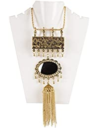 Meenakshi Handicraft Emporium Oxidise Silver Antique Metal Necklace Set For Women
