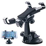 LXCN®, Car Seat Tablet Holder/Car Windshield Tablet Holder for 7-10 Inches Kindle/iPad (Black) (Tablet Holder with Suction Cup (4 Lock Arms)