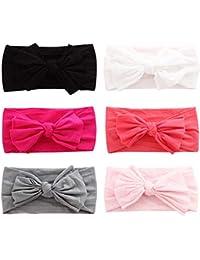 COUXILY bebé-niñas diademas de algodón suave arco anudada Hairband Headwrap Elastic Bow Turbante aros