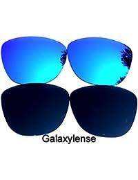 Galaxylense lentes de repuesto para Oakley Frogskins negro y azul Color Polarizados 2 Pares - negro y azul