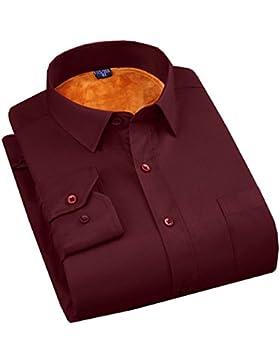 CHLXI Hombre Camisa Cálida Negocio Vestido Profesional Color Sólido De Algodón Manga Larga Camisa Gruesa
