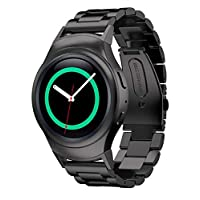 Black Stainless Steel Watch Band Strap And Band Connector For Samsung Gear S2 RM-720