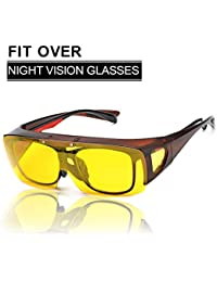 SIPHEW Night Driving Glasses, Be Worn Over Prescription Eyewear, Wrap Around Night Vision Glasses 100% UV400 Protection