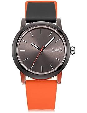 DWG Art- und Weisesilikon-Bügel-Sport-Uhr-japanische Quarz-wasserdichte Armbanduhr beiläufige einfache Uhren (...