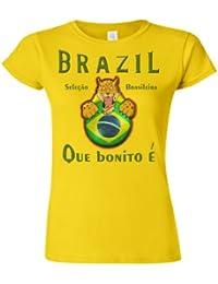 Brazil Football Mascot Ladies Camiseta Para Mujer World Cup T-Shirt e2aa3ae1fa46b