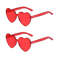 One Piece Heart Shaped Rimless Sunglasses Transparent Candy Color Eyewear (Red-2 pack)