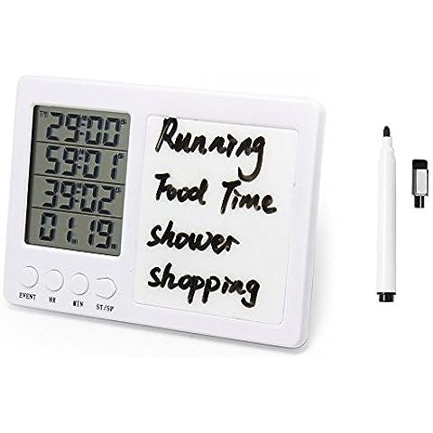 Temporizador cocina, WER contador de tiempo digital, temporizador de cocina de 4 canales, Pantalla LCD grande, fuerte alarma, respaldo magnético, stand, pizarra / pluma de borrado en seco(1