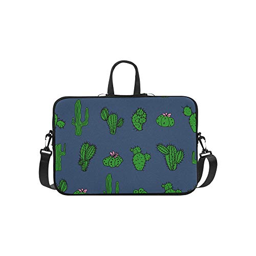 Handgezeichnete Verschiedene Kakteen Muster Aktentasche Laptoptasche Messenger Schulter Arbeitstasche Crossbody Handtasche für Geschäftsreisen -