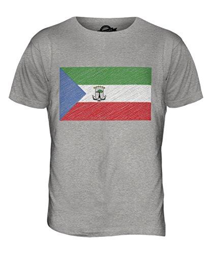 CandyMix Guinea Equatoriale Bandiera Scarabocchio T-Shirt da Uomo Maglietta Marne Grigio