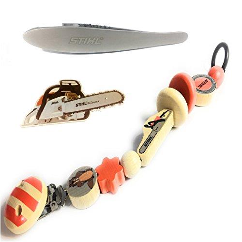 Preisvergleich Produktbild Stihl Holzschnullerkette, Schnuller-Kette 21 cm, inkl. Flaschenöffner & Bierdeckel Motorsäge für Papa, Bundel Set, Baby Geschenk Set