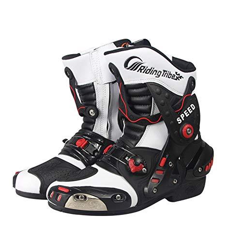Preisvergleich Produktbild LZLHYH Motorrad Schutzstiefel Fahrradschuhe Straßenrennen rutschfeste Rennstiefel Herren Motorradschuhe Stiefel, Weiß, 43